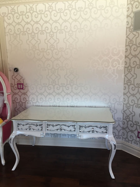 Amelie Writing Desk - White & Silver- CLIENT PHOTO