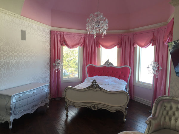 Sabine Shabby Chic French Upholstered Bed - Silver & Pink- CLIENT PHOTO
