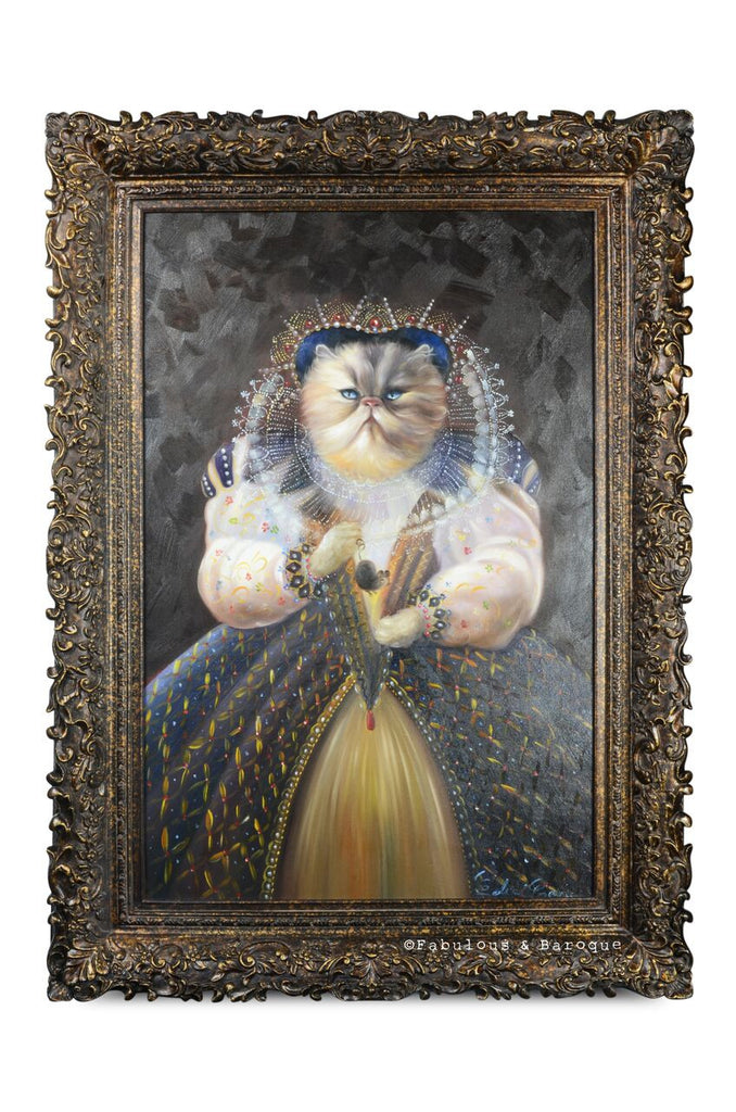 Baroque Portrait Painting - Camilla the Cat w/ Mouse