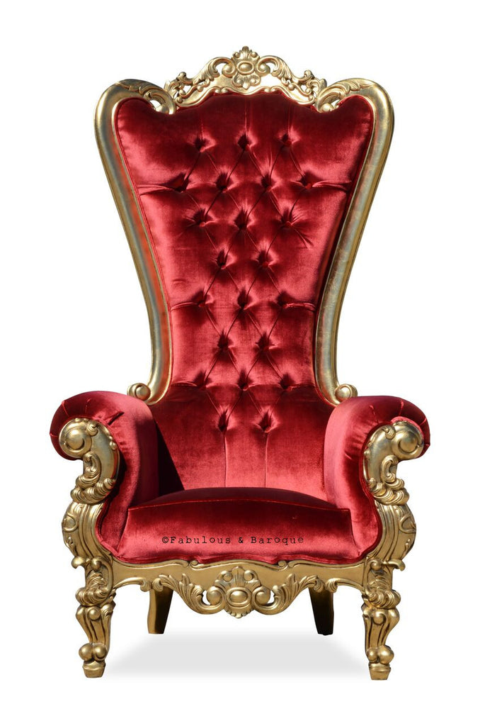 Gryphon Reine Chair - Gold Leaf & Red Velvet