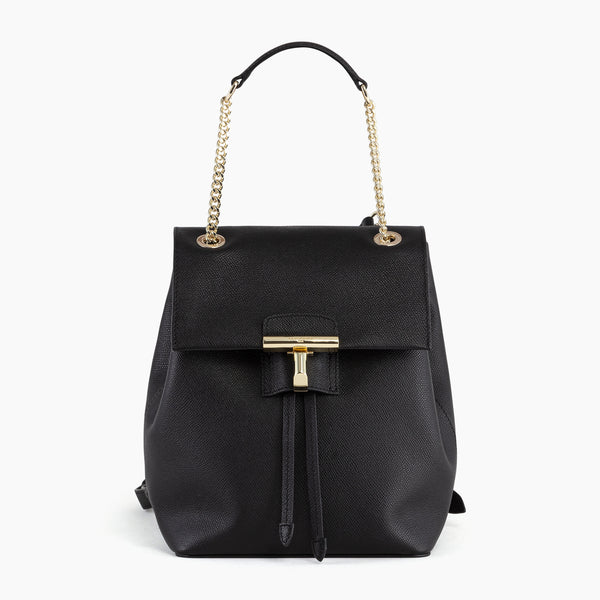 Adèle pebbled leather flap backpack - Le Tanneur