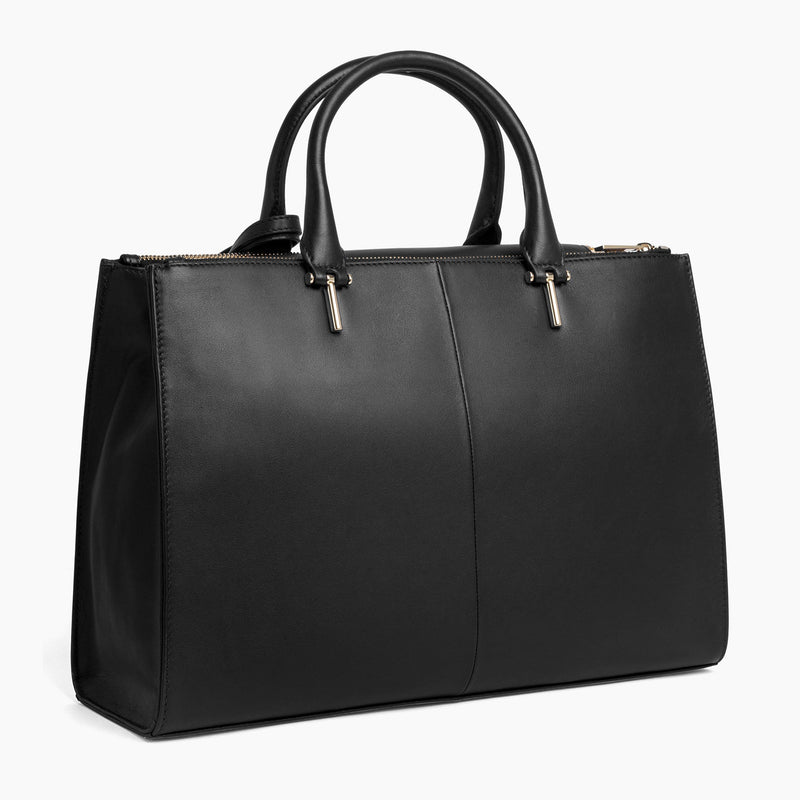 Large horizontal handbag Constance smooth leather - Le Tanneur