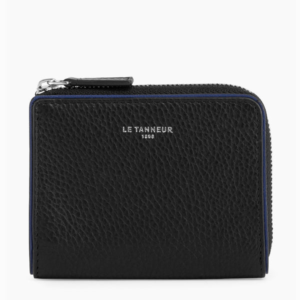 L-shaped zip coin purse Augustin pebbled leather - Le Tanneur
