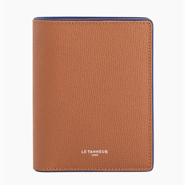Vertical wallet with zipped coin pocket Augustin pebbled leather - Le Tanneur