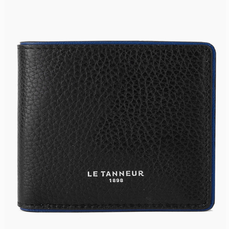 Horizontal wallet with coin pocket with flap Augustin pebbled leather - Le Tanneur