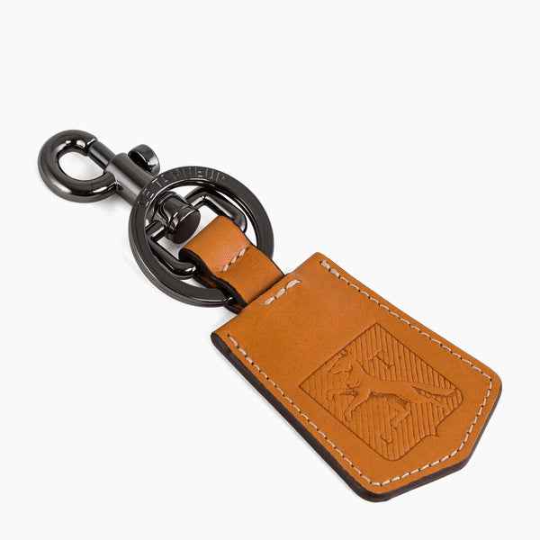 Keychain coat of arms smooth leather brown - Le Tanneur
