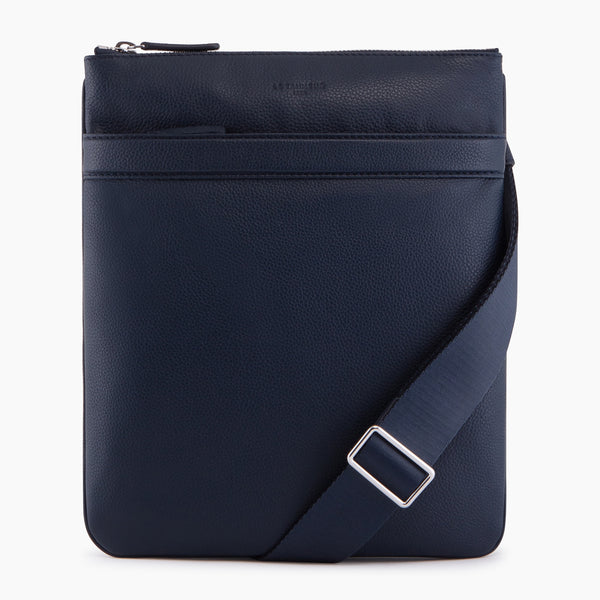 Charles pebbled leather small flat zipped pocket bag - Le Tanneur