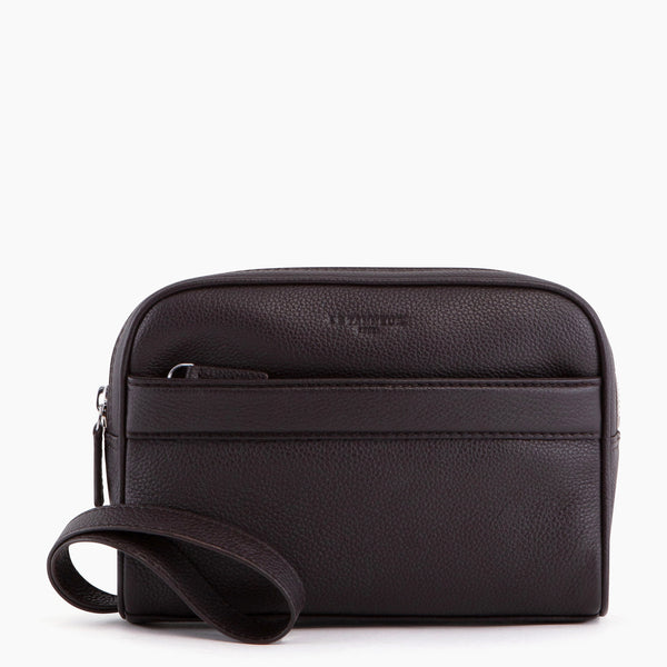 Charles pebbled leather clutch bag with strap - Le Tanneur