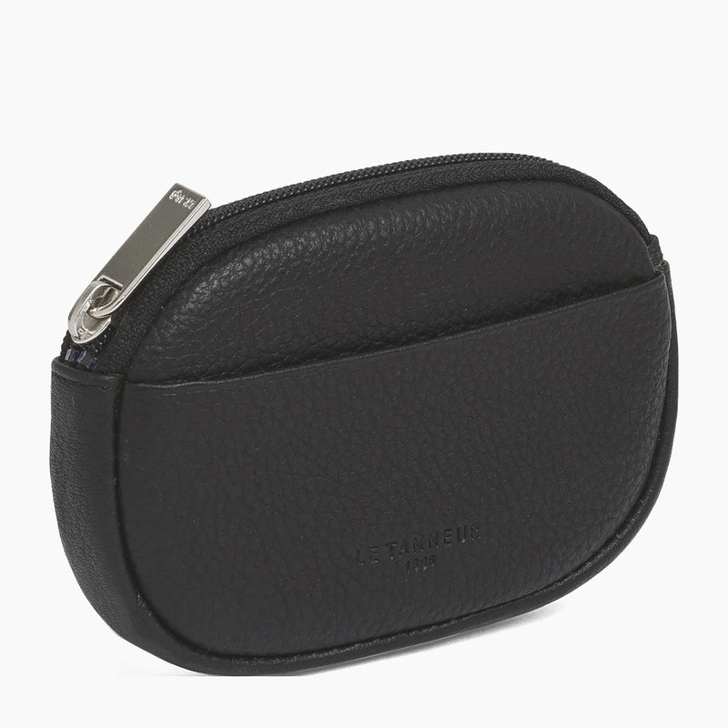 Zipped coin purse Charles pebbled leather - Le Tanneur