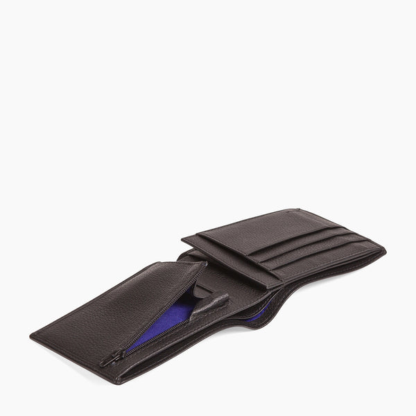 Horizontal zipped wallet 2 flaps Charles pebbled leather - Le Tanneur