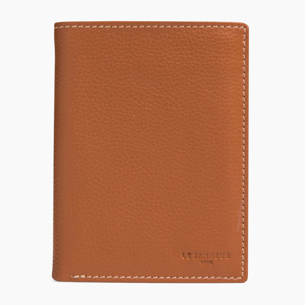 Charles pebbled leather - Le Tanneur small 2 flap zipped wallet