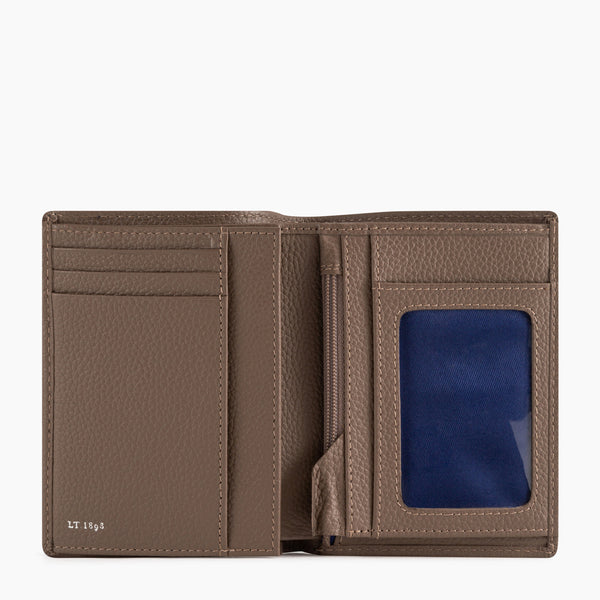 Medium wallet model zipped 2 flaps Charles pebbled leather  - Le Tanneur