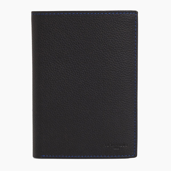 Medium vertical wallet 2 flaps Charles pebbled leather - Le Tanneur