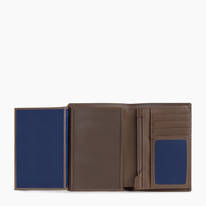 Medium vertical wallet 2 flaps zipped model Charles pebbled leather - Le Tanneur