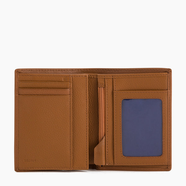 Vertical wallet 2 panels Charles pebbled leather - Le Tanneur