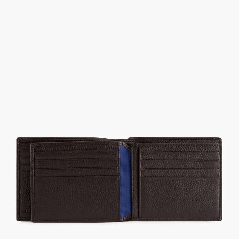 Card holder central flap with pocket bills Charles pebbled leather - Le Tanneur