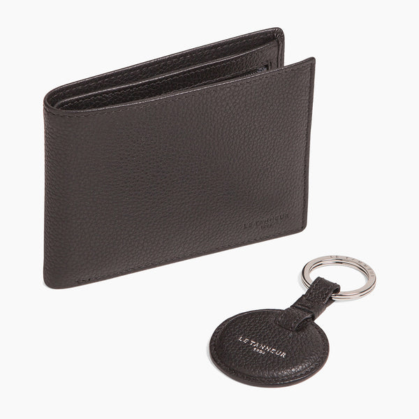 Men's gift box : wallet with zipped coin pocket Charles pebbled leather - Le Tanneur
