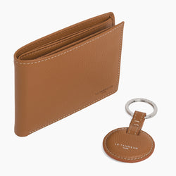 Gift box with round key ring Charles pebbled leather - Le Tanneur