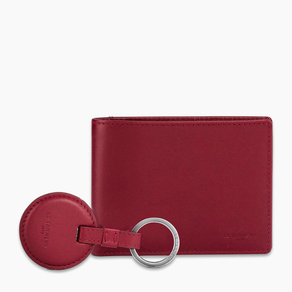 Gift box with round key ring Charles smooth leather - Le Tanneur