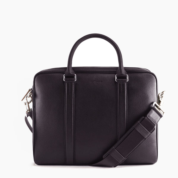 "Little briefcase slim 13"" Charles pebbled leather - Le Tanneur"