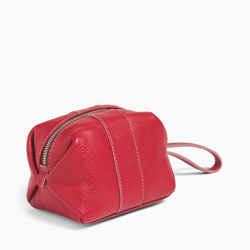 Small zipped toilet bag pebbled leather  - Le Tanneur