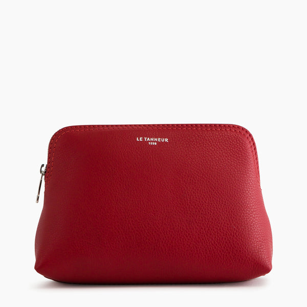 Small zipped pebbled leather toiletry bag