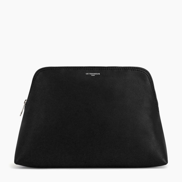 Large zipped pebbled leather toiletry bag