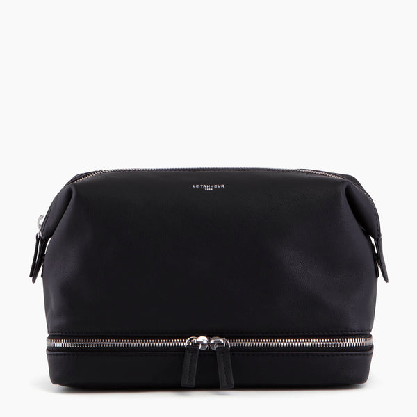 Large zipped pebbled leather toilet bag - Le Tanneur
