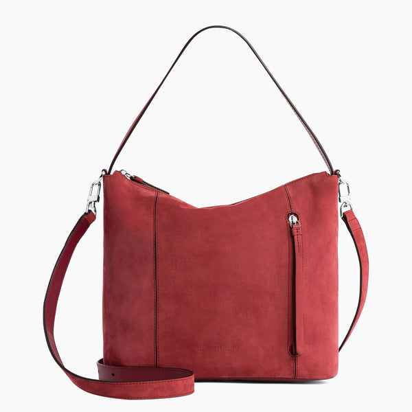 Elaine large hobo bag in nubuck leather - Le Tanneur