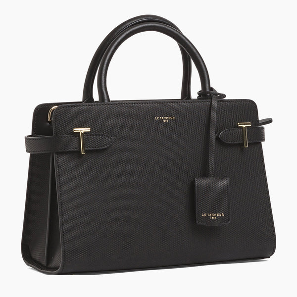 Medium handbag Emilie model in monogrammed leather - Le Tanneur