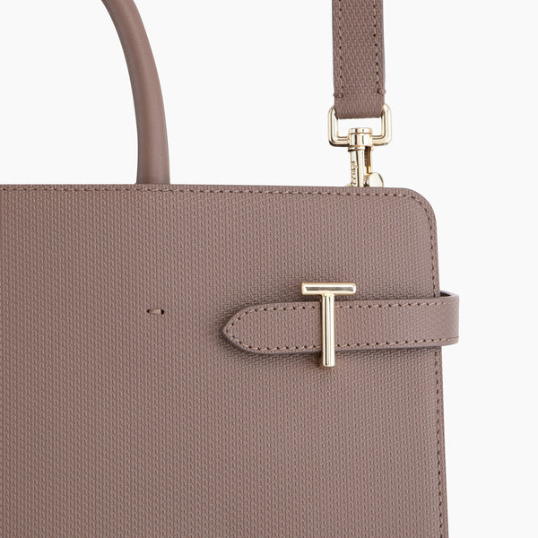 Emilie's big leather handbag monogram - Le Tanneur