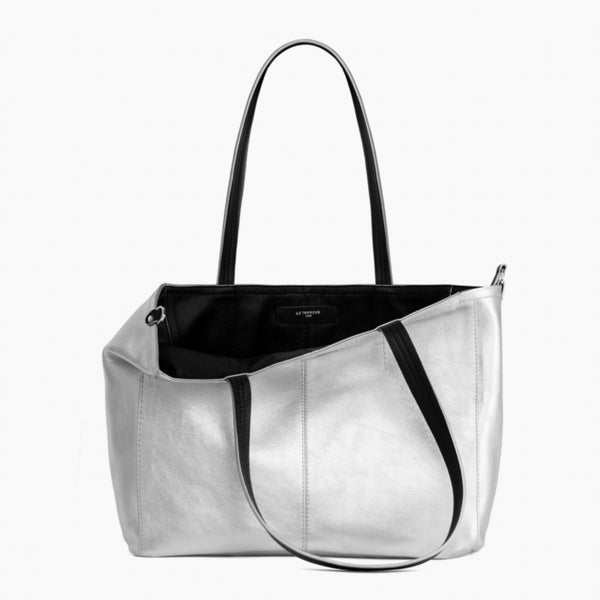 Large horizontal shoulder bag Eve smooth leather - Le Tanneur