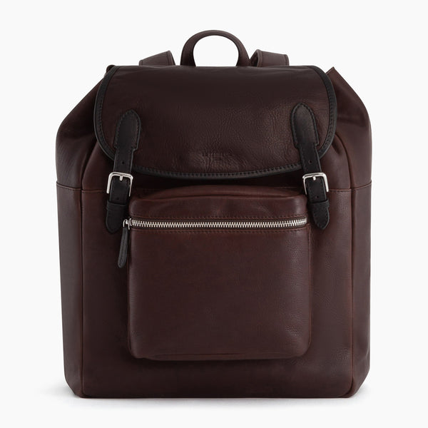 Gabriel flap backpack in oiled leather - Le Tanneur
