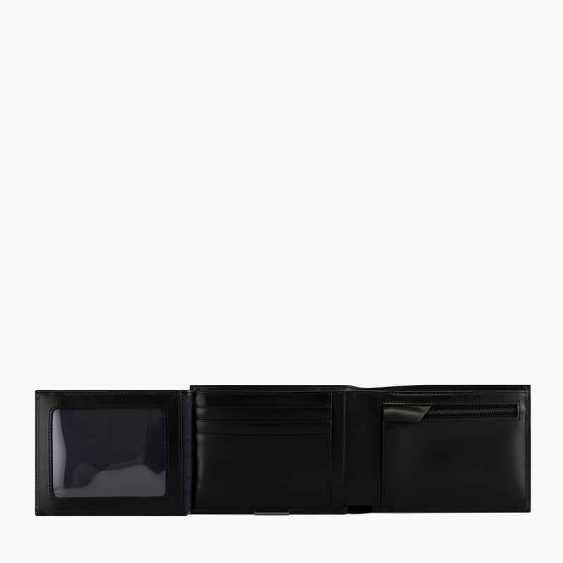 Horizontal 2 flap wallet with Honoré smooth leather zipped coin pocket - Le Tanneur