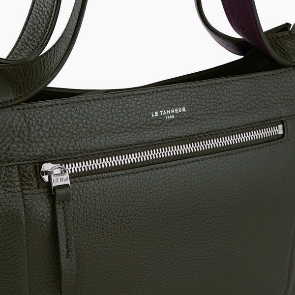 Medium handbag model Jade pebbled leather - Le Tanneur