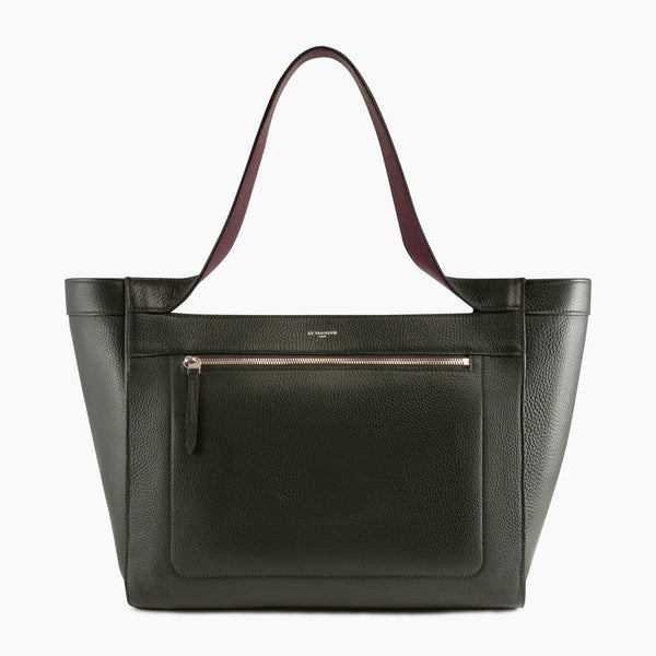 Jade pebbled leather Tote Bag - Le Tanneur