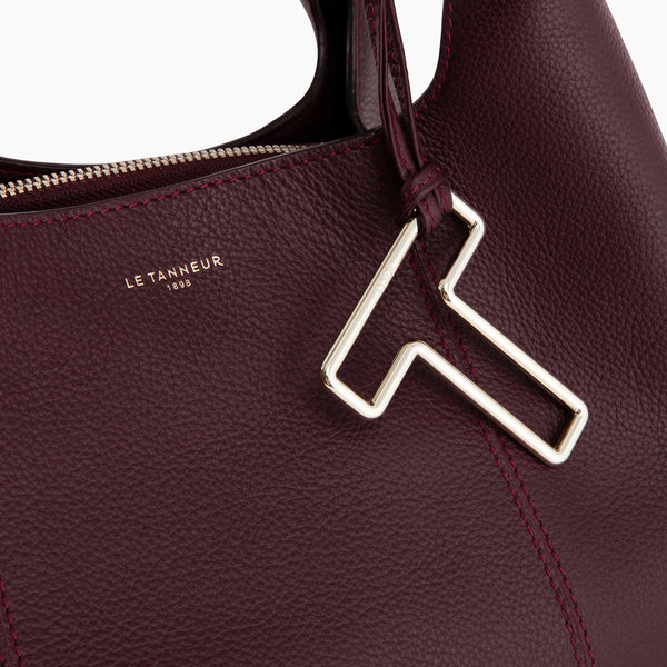 Medium shoulder bag model Juliette pebbled leather - Le Tanneur