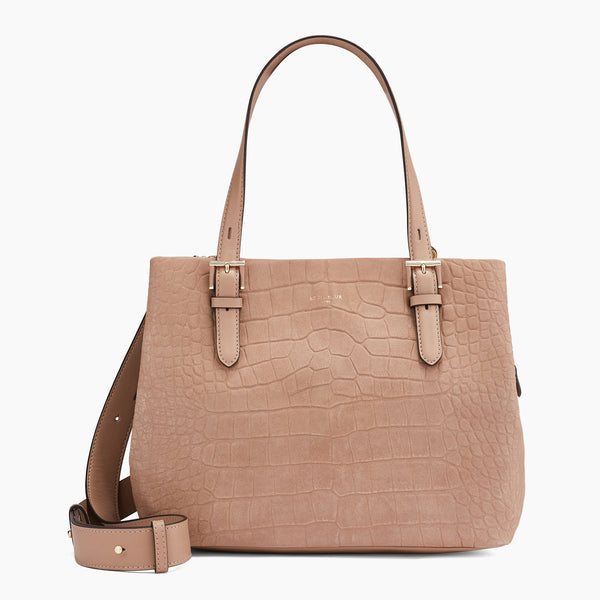 Medium shoulder bag 3 compartments model Josephine in nubuck leather - Le Tanneur