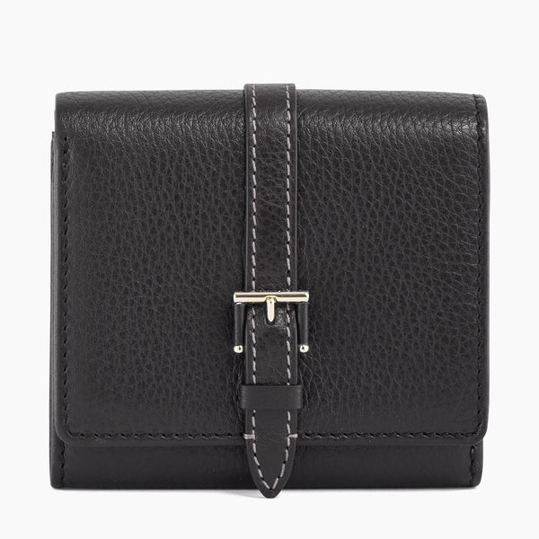 Wallet with Josephine pebbled leather flap - Le Tanneur