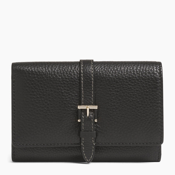 Small wallet: bills, cards, change, zipped Josephine pebbled leather - Le Tanneur