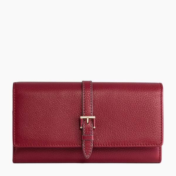 Large wallet: bills, cards, change, zipped Josephine pebbled leather  - Le Tanneur