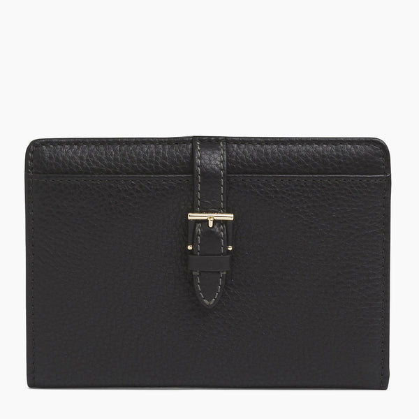 Zipped wallet 2 flaps Josephine pebbled leather - Le Tanneur