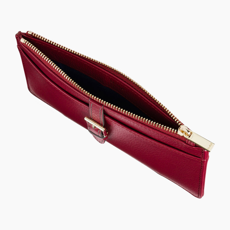 Flat zipped companion Joséphine pebbled leather - Le Tanneur