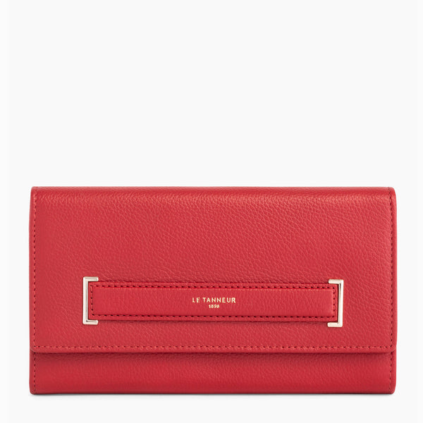 Large zipped wallet Judith pebbled leather - Le Tanneur