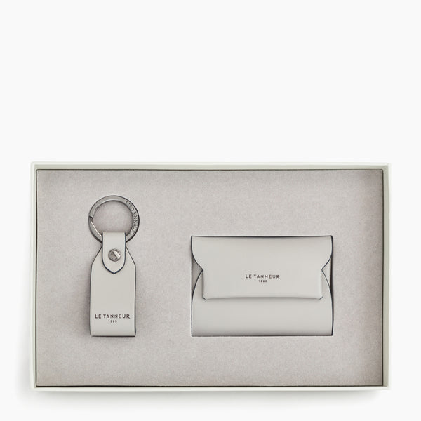 key ring and cardholder smooth leather Justin gift box