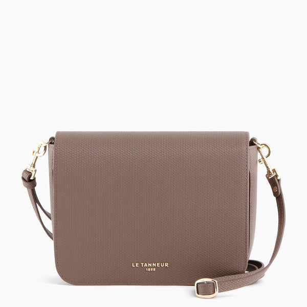 Flap pocket with removable shoulder strap Lise in monogrammed leather - Le Tanneur