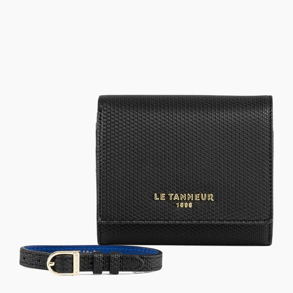 Gift box: Lise monogrammed leather bracelet and wallet with flap - Le Tanneur
