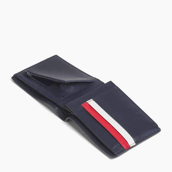 Horizontal wallet: banknotes, cards, coins, zipped 2 parts Louis smooth leather - Le Tanneur
