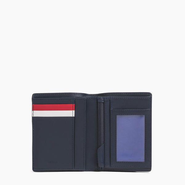 Vertical wallet: banknotes, cards, coins, zipped 2 flaps Louis smooth leather - Le Tanneur