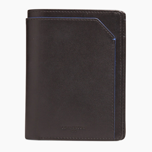 Small wallet : bills, cards, change, zipped 2 flaps Mathieu smooth leather - Le Tanneur